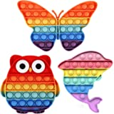 XiXianXin 3Pcs Push Pop Bubble Animal Fidget Sensoy Toy,Anti-Anxiety Toy,Squeeze Fidget Toy,Silicone Anxiety Stress Reliever