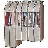 アストロ 洋服カバー ワイド 3枚 (スーツ2枚+ロング1枚) ベージュ 不織布 透明窓 防虫剤ポケット付き 底までカバー まとめて収納 600-22
