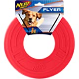 Nerf Dog Atomic Flyer Dog Toy, Frisbee, Lightweight, Durable and Water Resistant, Great for Beach and Pool, 10 inch diameter,