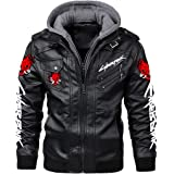 Magicos Cyberpunk Leather Jacket, Durable Brown PU Leather Punk Adult Removable Cap Coat Fashion Cyberpunk Cosplay Costume.