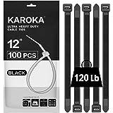Zip Ties 12 inch Heavy Duty Zip Ties with 120 Pounds Tensile Strength, Black Cable Ties, 100 Pieces,by Karoka