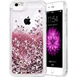 iPhone 6 6S 7 8 Case, Caka iPhone 6S Glitter Case with Tempered Glass Screen Protector Bling Flowing Floating Luxury Glitter