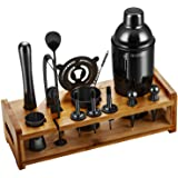 Soing Black 24-Piece Cocktail Shaker Set,Perfect Home Bartending Kit for Drink Mixing,Stainless Steel Bar Tools With Stand,Ve