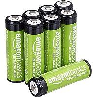 Amazonベーシック 充電池 充電式ニッケル水素電池 単3形8個セット (最小容量1900mAh、約1000回使用可能…