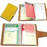 通帳ケース 本革製 通帳とカードセットで収納できる (黄色)