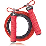 5BILLION Speed Jump Rope - Nature Handle - Adjustable with Ball Bearings - Workout for Double Unders, WOD, Outdoor, MMA & Box