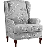 Anchengcraft Wingback Chair Cover 2-Piece Stretchy Wingback Armchair Covers Spandex Elastic Sofa Covers for Furniture Protect