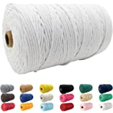 (White) - Macrame Cord, BYWORLD 3mm Cotton Rope 220 Yards(200m) Twine String, 100% Natural Cotton Coloured Macrame Rope for M