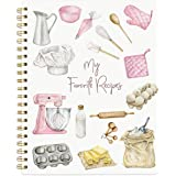 """Recipe Notebook Blank Cookbook Spiral Recipe Journal Blank Recipe 8.5"""" x 11"""" Watercolor Cover Blank Recipe to Write in with T"""