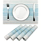 WAZAIGUR Placemat,Blue and White Blending Color Durable Woven Vinyl Placemat Washable Heat-Resistant Anti-Skid Kitchen Dining