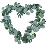 Artificial Eucalyptus Garland with Willow Vines Twigs Leaves 1 PCS (78.7 in Each) - Fake Plant with Leaves Faux Silver Dollar