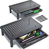 EVOOMI Back Saver Monitor Riser with Drawer - 2 Pack - Gain 5 Weeks a Year, Less Pain & Peak Productivity with Anti Skid Mesh