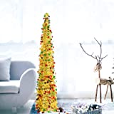 DOYOLLA Collapsible Artificial Christmas Tree , Pop Up Tinsel Coastal Xmas Tree for Home & Party & Office & Fireplace Holiday