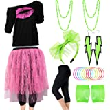 80s Outfits Costume Accessories for Women,Pink Lips Print Off Shoulder T-Shirt for 80s Costumes