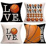 Asamour Love Basketball Pillowcase Set of 4 Popular Sport Basketball Design Cotton Linen Throw Pillow Case Cushion Cover Prot