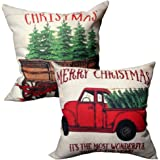 2-Pack Christmas Throw Pillow Covers with Tree and Vintage Red Truck Pattern for Couch Sofa Home Decoration 18 x 18 inch Case