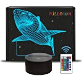 FULLOSUN 3D Shark Illusion Lamp, Animals Night Light with Remote Control Optical Touch 16 Color Changing Desk Lamps Kids Room