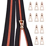 Nylon Coil Zippers by The Yard #5-Long Zippers for Sewing Red Metallic Teeth Black Tape 5 Yard with 10PCS Rainbow Slider-VOC
