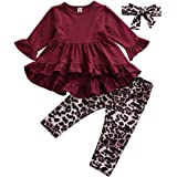 Toddler Baby Girl Ruffle Flare Long Sleeve Tops Dress+Leopard Leggings Pants Outfits Fall Winter Clothes