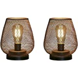 JHY Design Set of 2 Metal Cage LED Lantern Battery Powered, Cordless Accent Light with LED Edsion Style Bulb. Great for Weddi
