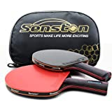 Senston Ping Pong Paddles Set Includes 2 High Performance Table Tennis Rackets and 1 Portable Storage Bag Included for Indoor