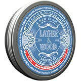 Lather & Wood Shaving Soap - Barbershop - Simply The Best Luxury Shaving Cream - Tallow - Dense Lather with Fantastic Scent f