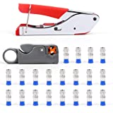 Compression Tool Kit,Knoweasy Coax Compression Crimper,Compression Crimping Tool +Coaxial Crimper Cable Cutter +20pcs Connect