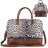 Women Canvas Travel Weekender Overnight Carry-on Duffel Bag with Shoe Compartment