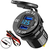 SunnyTrip 36W 6A Cigarette Lighter Dual QC3.0 USB Charger Socket with Voltmeter and Switch, Quick Charge 3.0 12V/24V USB Powe