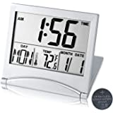 Digital Travel Alarm Clock Battery Operated, Portable Large Number Display Clock with Temperature, 12/24 H Small Desk Clock -