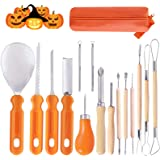 Ginbel Direct Halloween Pumpkin Carving Tool Kit, 15pcs Professional Stainless Steel Pumpkin Cutting Supplies Tools Kit for H