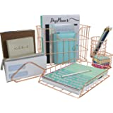 Sorbus Desk Organizer Set, 5-Piece Desk Accessories Set Includes Pencil Cup Holder, Letter Sorter, Letter Tray, Hanging File