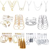 AROIC 51 PCS Gold Silver Jewelry Set with 6 PCS Necklace,9 PCS Bracelet,36 PCS Layered Ball Dangle Hoop Stud Earrings for Wom
