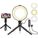 """LED Ring Light 6"""" with Tripod Stand & Phone Holder for Live Streaming & YouTube Video, Dimmable Desk Makeup Ring Light for Ph"""