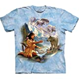 The Mountain Men's Dreams of Wolf Spirit T-Shirt, Blue, Large