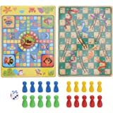 TOYANDONA 1 Set of Wooden Board Games for Kids 2in1 Ludo Travel Board Game Classic Snakes and Ladders Board Game Toddler Pira