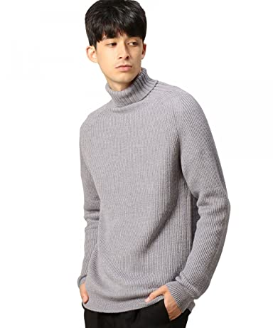 Wool Rib Turtleneck Sweater 1213-106-3182: Grey