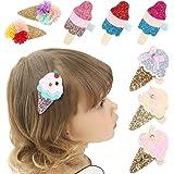 Girls Hair Clips Ice Cream Shape Clips Glitter Sparkly Hair Bows Boutique Hair Barrettes hairpins hair accessories for Little