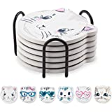 Coasters Set for Drinks, Cat Pattern Absorbent Ceramic Coasters with Metal Holder, 4 Inches, Suitable for Kinds of Cups and M