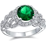 Art Deco Style Personalized 3CT Round Cubic Zirconia Pave Simulated Emerald Green Solitaire Statement Ring Silver Plated Bras