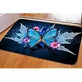 HUGS IDEA Butterfly Doormat for Bedroom Bathroom Kitchen Living Room Indoor Outdoor Mats Non Slip Water-Absorbing Soft Floor