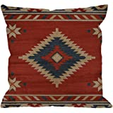 HGOD Designs Red Pattern Pillow Case,Ethnic Style Pattern Cotton Linen Cushion Cover Square Standard Home Decorative for Men/
