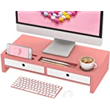 Monitor Stand Riser Desk Organizer - with Drawers Keyboard Storage Pink 22x10.6x4.7 inch