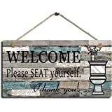"Smarten Arts Printed Wood Plaque Sign Wall Hanging Welcome Sign Please Seat Yourself Wall Art Sign Size 11.5"" x 6"" (Blue-Blac"