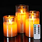 5plots Flickering Flameless Candles, Battery Operated Glass LED Pillar Candles with Remote Control and Timer, Wax, Set of 3(G