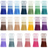 Creatrill 100 Pcs 13cm/5 Inch Silky Handmade Soft Craft Mini Tassels with Loops for Jewelry Making DIY Projects Bookmarks 20