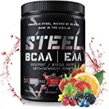 Steel Supplements Best BCAA EAA Powder High Performance Promotes Lean Muscle Growth 1lb (Fruit Punch)