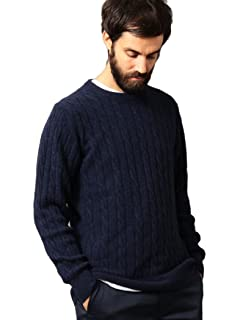 Cashmere Cable Crewneck Sweater 1213-105-3234: Navy