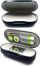 tomtask シンプル 専用袋付 レザー調 デュアルユース メガネ コンタクト レンズ ハード ケース 眼鏡