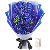 FAUHAL 純潔な色、海のような青色、青空で17枚花びらが自然に満開している姿が生き生き、バラ ソープフラワー シャボ…